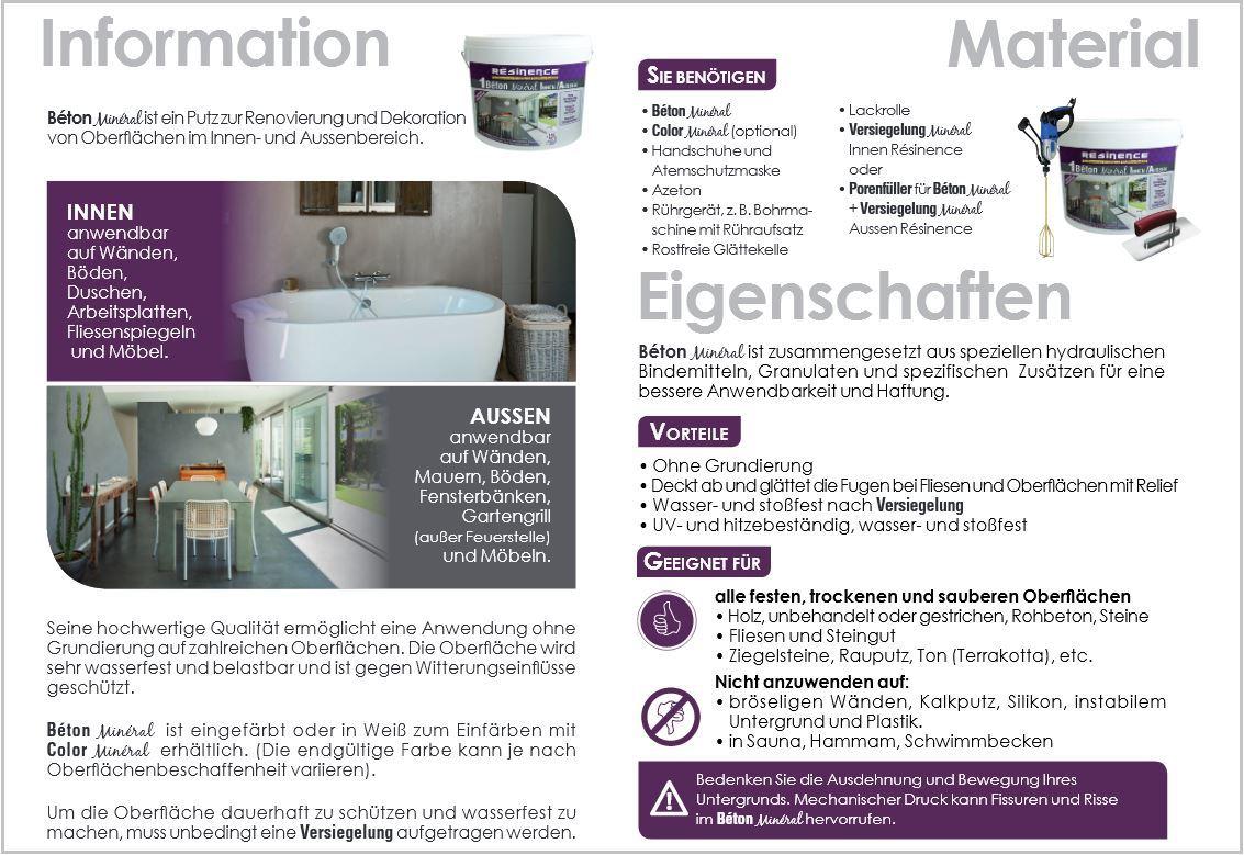 fugenlose designer spachtelmasse beton mineral resinence ebay. Black Bedroom Furniture Sets. Home Design Ideas